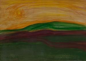 Toscanalandschaft 1989, Öl auf Bütten 38x53 cm (1)