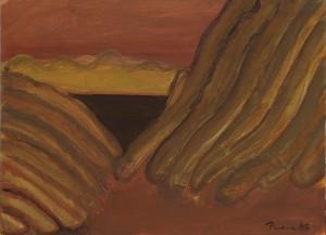 Toscanalandschaft 1989, Öl auf Bütten 38x53 cm