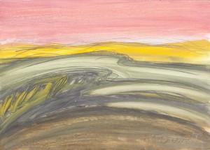 Toscanalandschaft,1989, Öl auf Bütten 38x53 cm