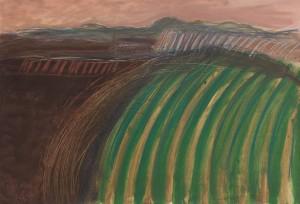 Toscanalandschaft, 1986, Öl auf Bütten, 5375 cm