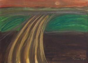 Toscanalandschaft, 1987, Öl auf Bütten, 53x75 cm