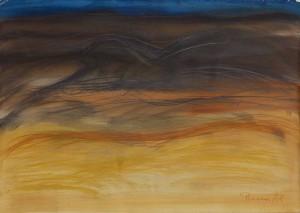 Toscanalandschaft, 1988, Öl auf Bütten 53x75cm