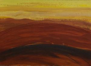 Toscanalandschaft, 1990_1, Öl auf Bütten 53x75 cm