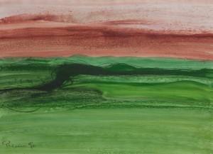 Toscanalandschaft, 1990_2, Öl auf Bütten, 53x75 cm