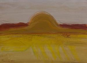 Toscanalandschaft,1986, Öl auf Bütten, 53x75 cm