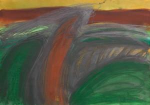 Toscanalandschaft,1988, Öl auf Bütten 53x75 cm,